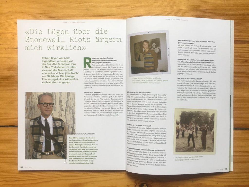 Erste Seite des Interviews mit Robert Bryan von Tobias Sauer im Mannschaft Magazin.