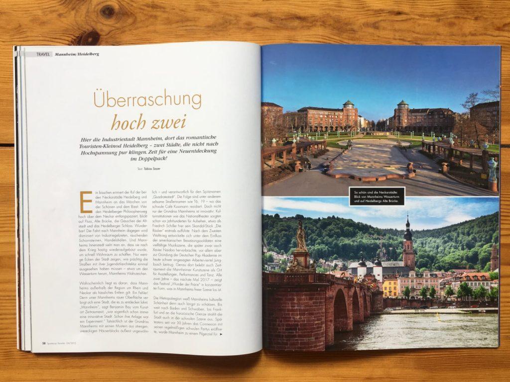 Aufmacher des Berichts zu Heidelberg und Mannheim im Spartacus Traveler.