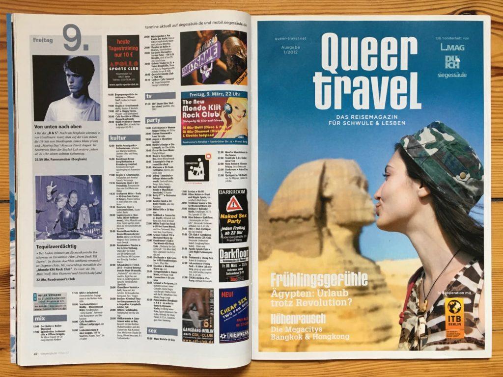 Foto der Titelseite von Queer Travel, Ausgabe 2012/1