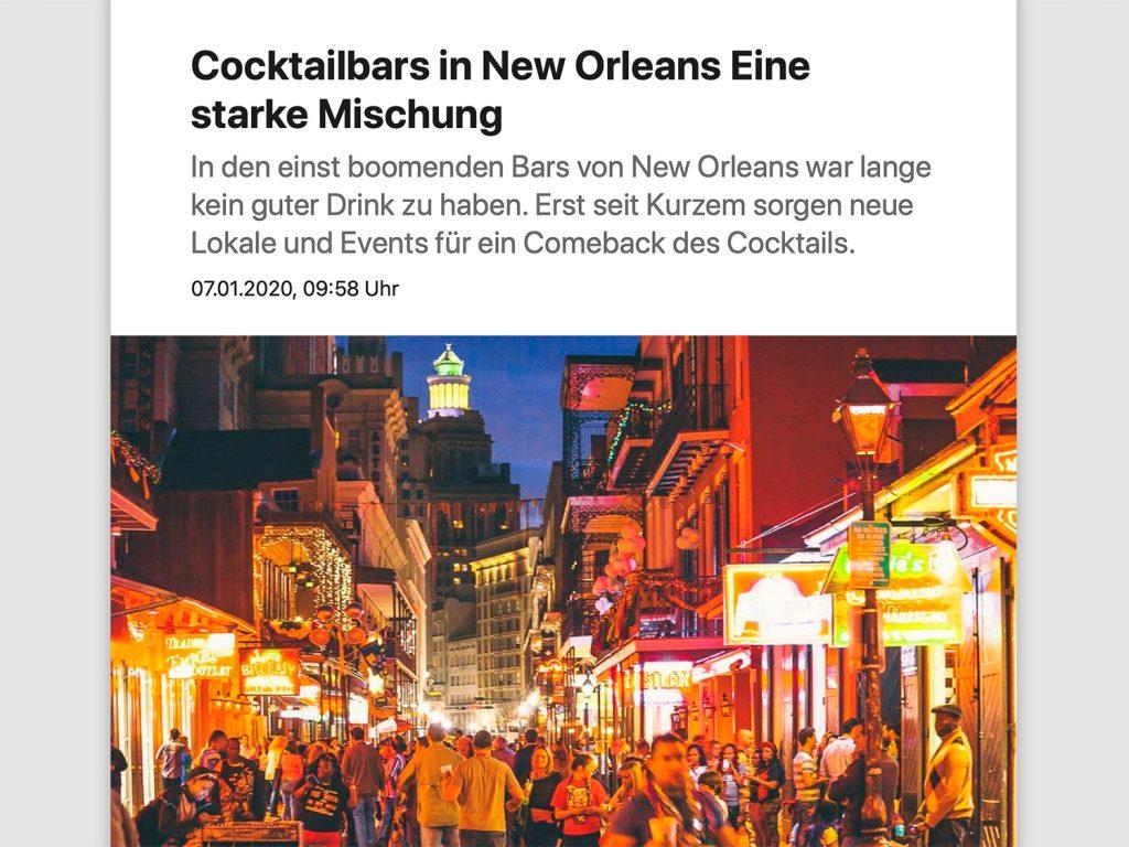 Screenshot des Artikel Cocktails in New Orleans: Eine starke Mischung beim Online-Auftritt des Spiegels.